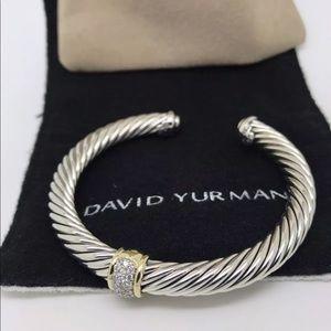 David Yurman 7mm Pave Diamond Gold Cuff Bracelet